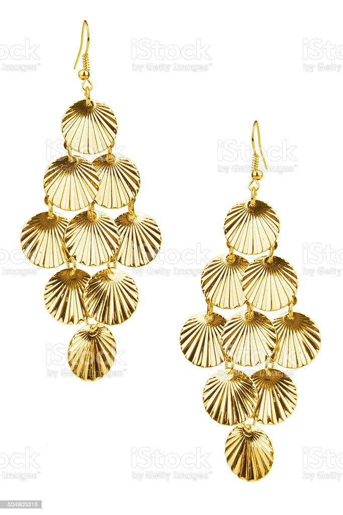 Pair of golden earrings stock photo