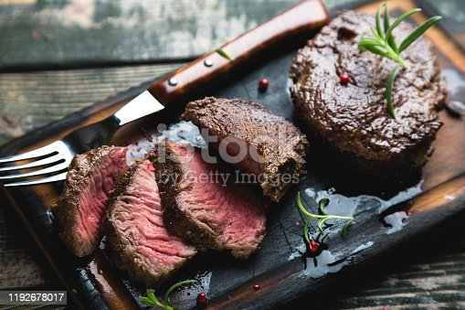 A pair of grilled marbled beef steaks