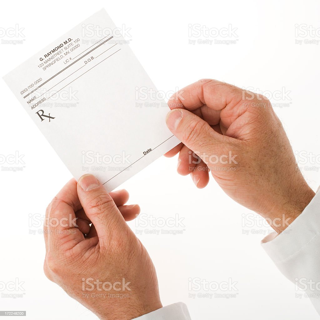 Pair of hands holding an empty doctor's prescription sheet stock photo