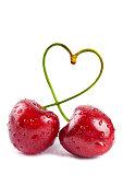Pair of heart-shaped sweet cherries
