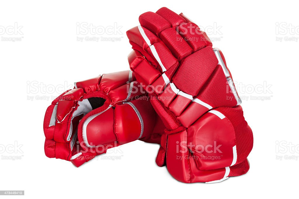 Pair of hockey gloves stock photo