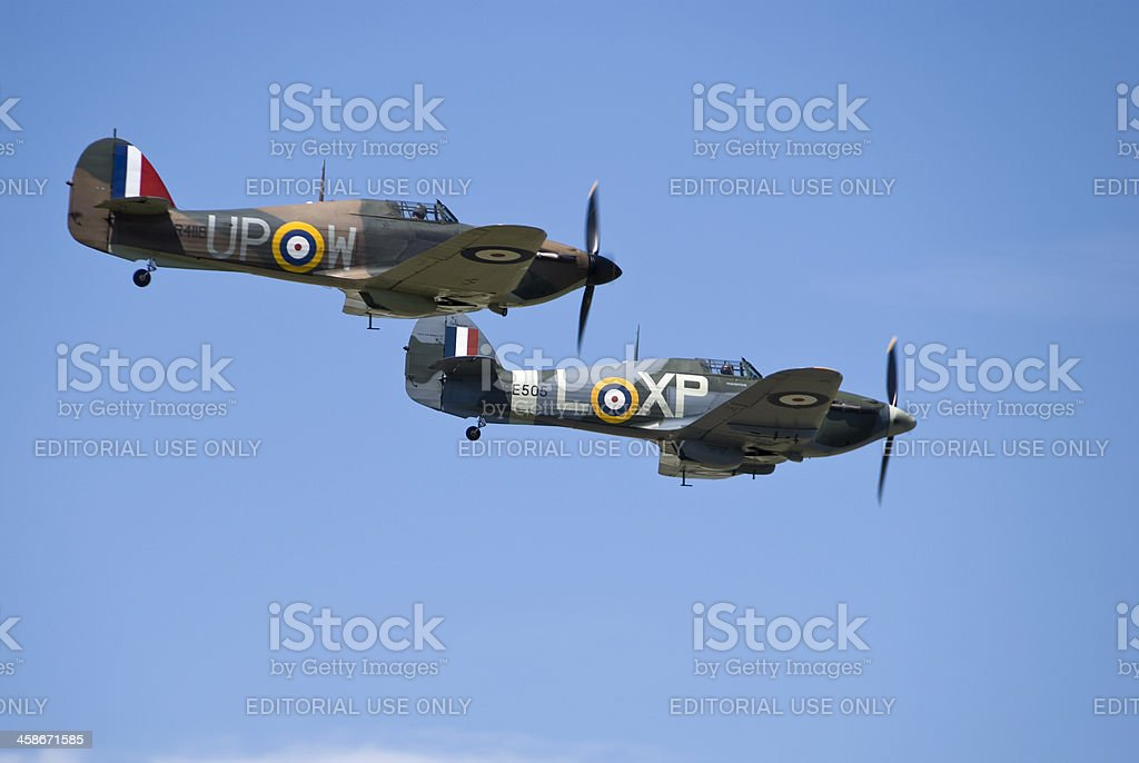 Pair of Hurricane World War 2 fighter aircraft stock photo