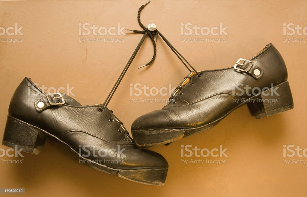 Pair of Irish step dance hard shoes stock photo