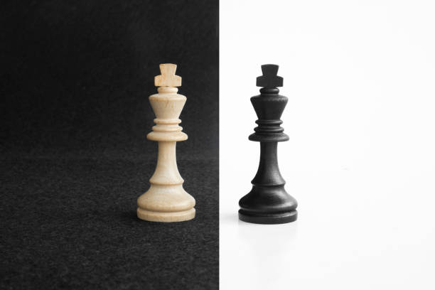 Pair of king chess peaces confronted as opposites in black and white background stock photo