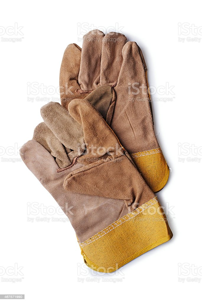Pair of leather gardening gloves stock photo