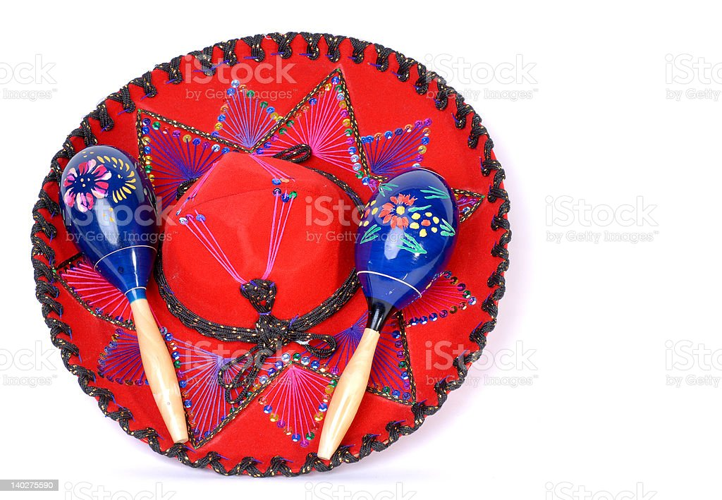 Pair of Maracas on a Mexican Hat royalty-free stock photo