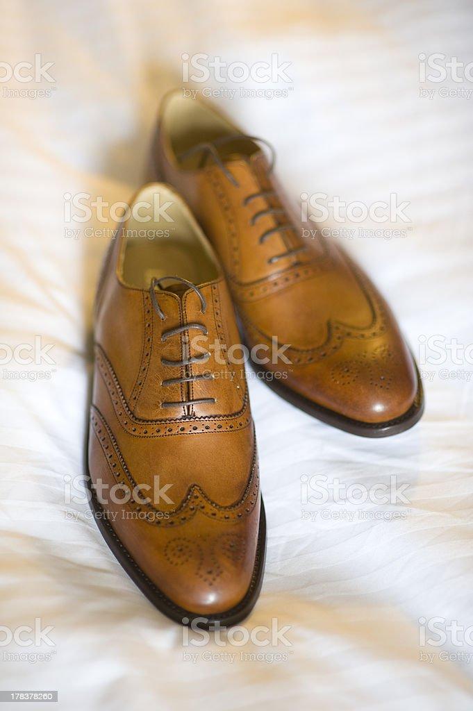 pair of mens brogue shoes stock photo