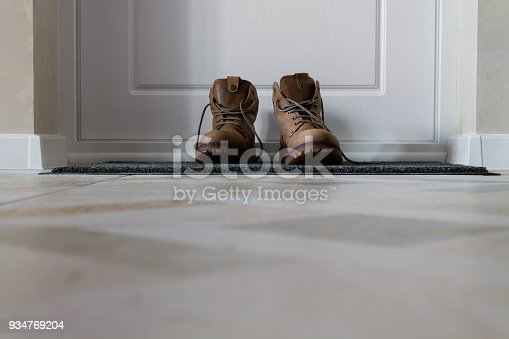 Men's Shoes in the Hallway. Nobody. Background