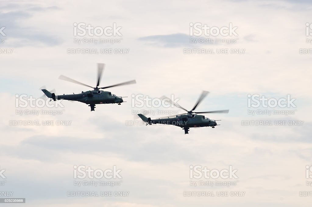 Pair of Mi-24 helicopters on Radom Airshow, Poland stock photo