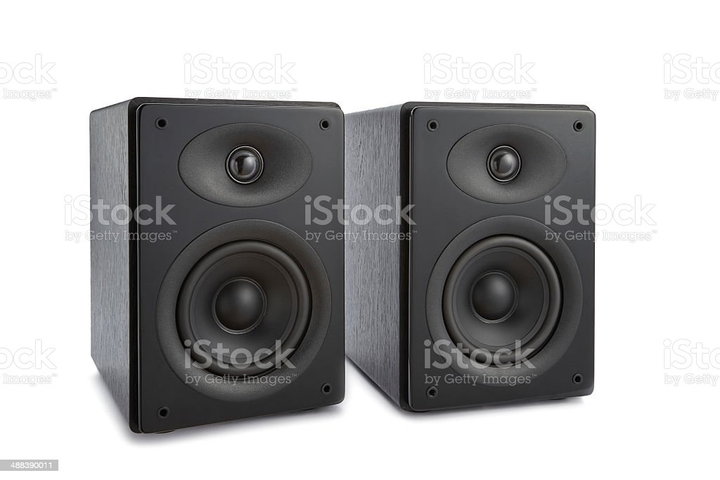 Pair of modern music speakers isolated stock photo