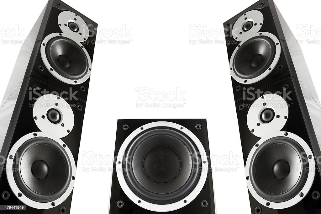 Pair of music speakers and subwoofer royalty-free stock photo