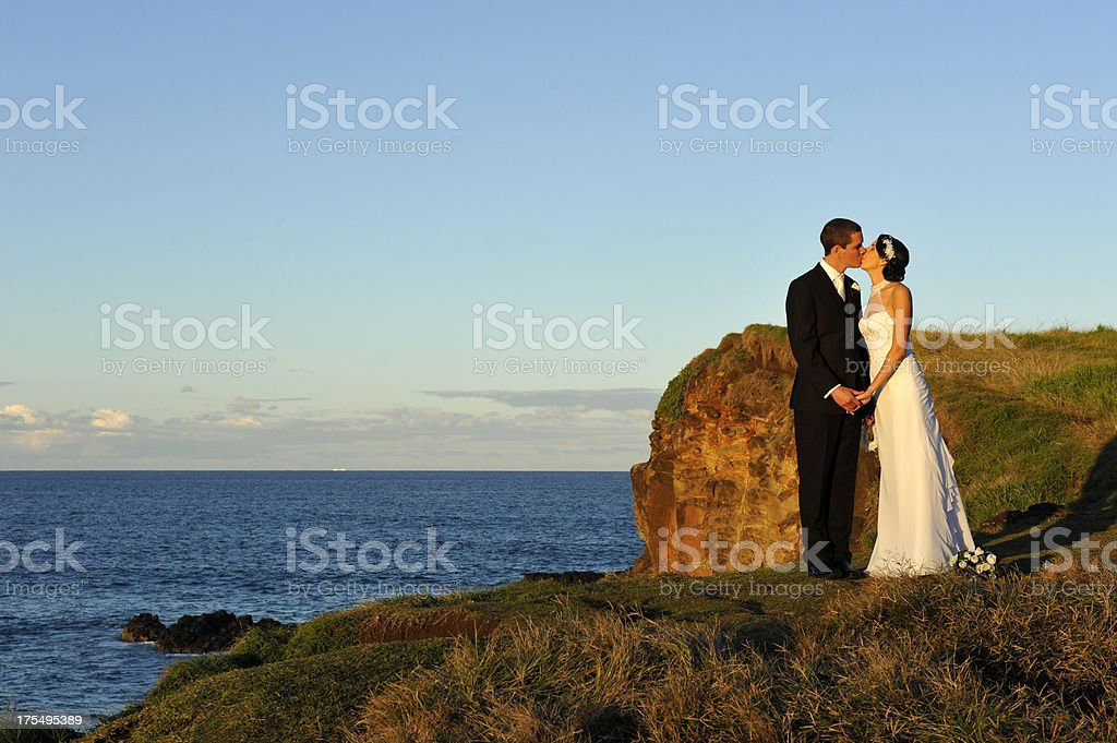 Pair of newlyweds on their wedding day stock photo