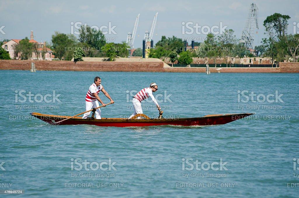Pair of oarsmen, Venice stock photo