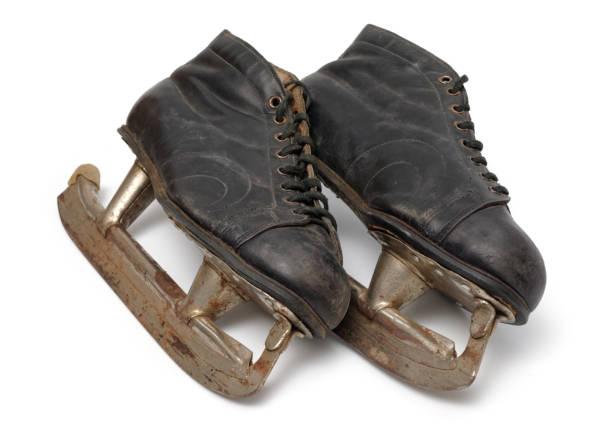 Pair of old ice skates stock photo