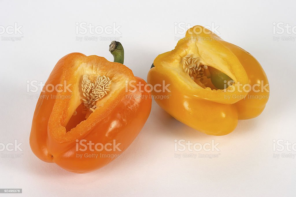 Pair of Peppers Orange and Yellow royalty-free stock photo