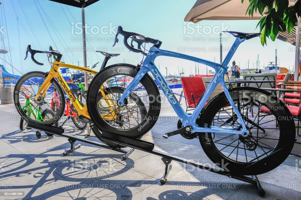 Pair of pinarello dogma F10 professional bicycles. stock photo