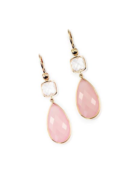paar rosa stieg der quart baumeln eleganten ohrringe - ohrringe piercing stock-fotos und bilder