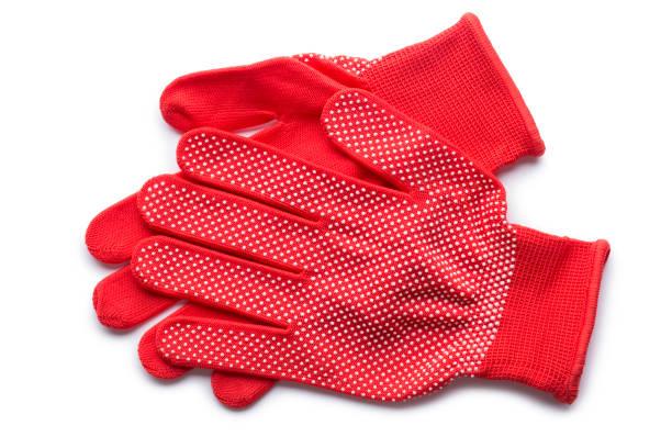 땡 땡이 빨간 뜰을 만드는 장갑의 쌍 - 원예 장갑 뉴스 사진 이미지