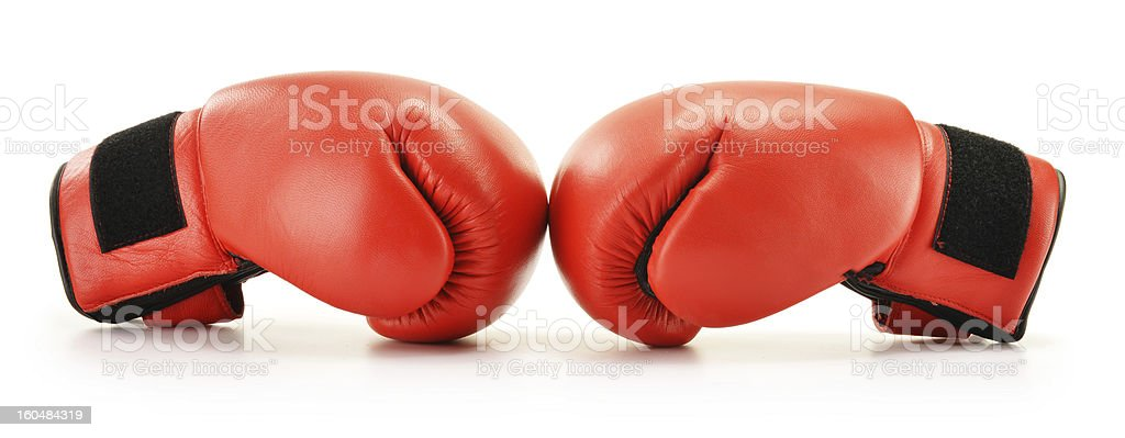 Pair of red boxing gloves isolated on white royalty-free stock photo
