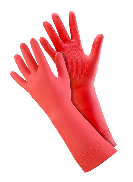 Pair of red rubber gloves