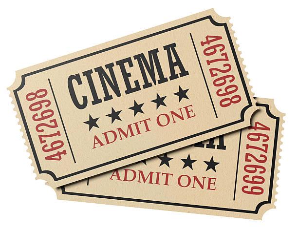 coppia di biglietti del cinema retrò isolato - biglietto del cinema foto e immagini stock
