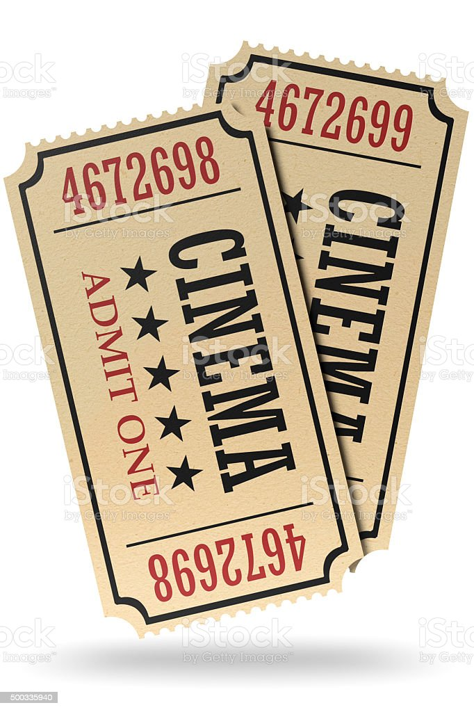 Pair of retro cinema tickets isolated with shadow stock photo