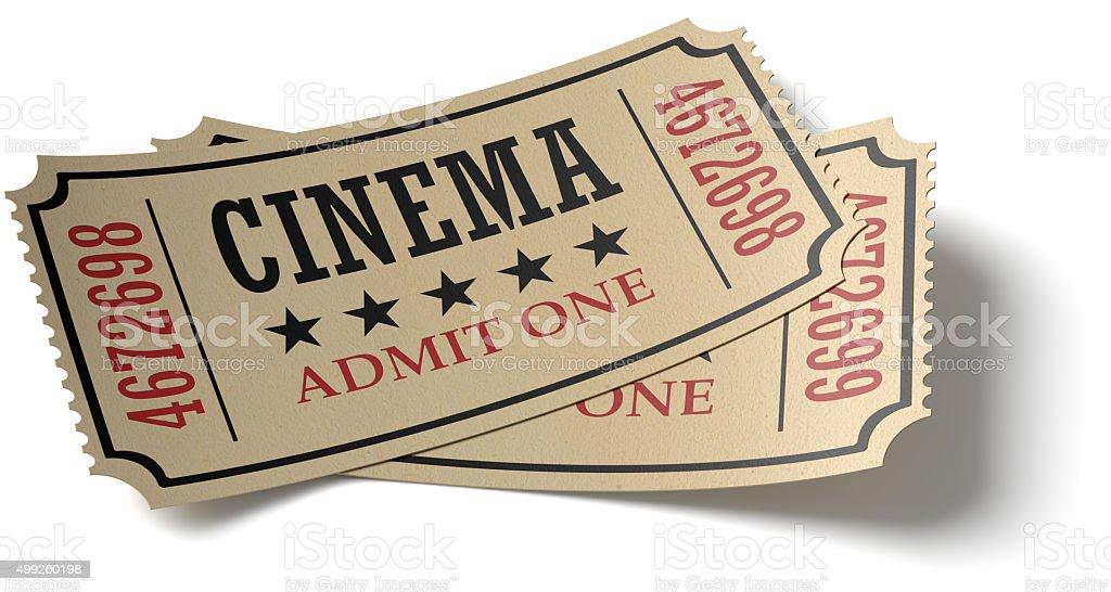 Pair of retro cinema tickets whith shadow stock photo