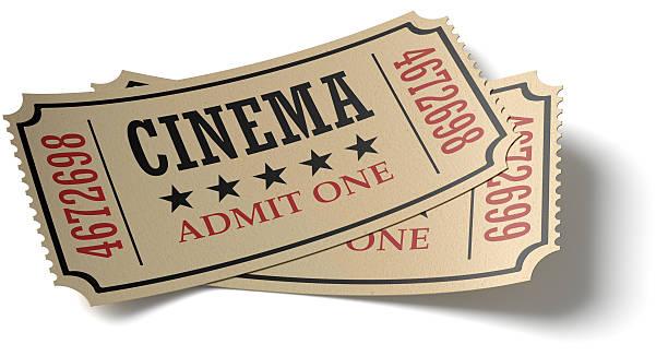 coppia di biglietti del cinema retrò whith ombra - biglietto del cinema foto e immagini stock