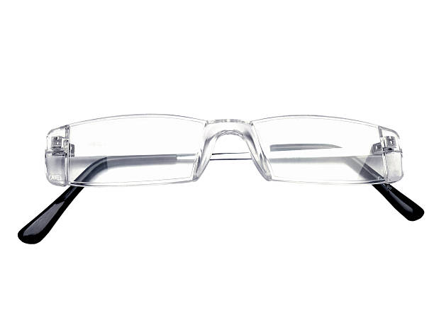 Pair of rimless eye glasses, reading glasses, eyeglass frames stock photo