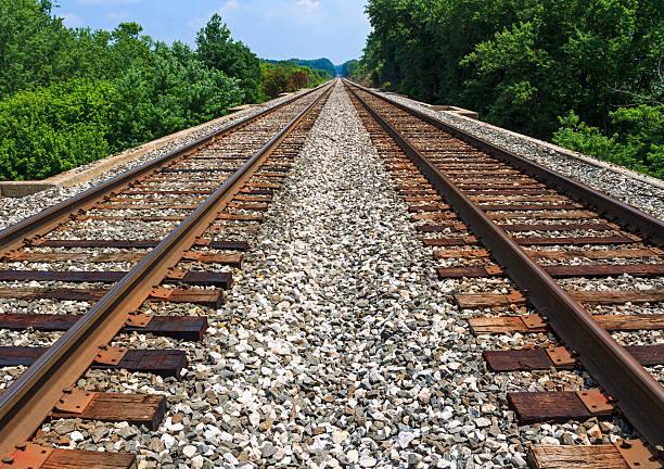 pair of rusty railroads on a sunny blue day - parallel stockfoto's en -beelden