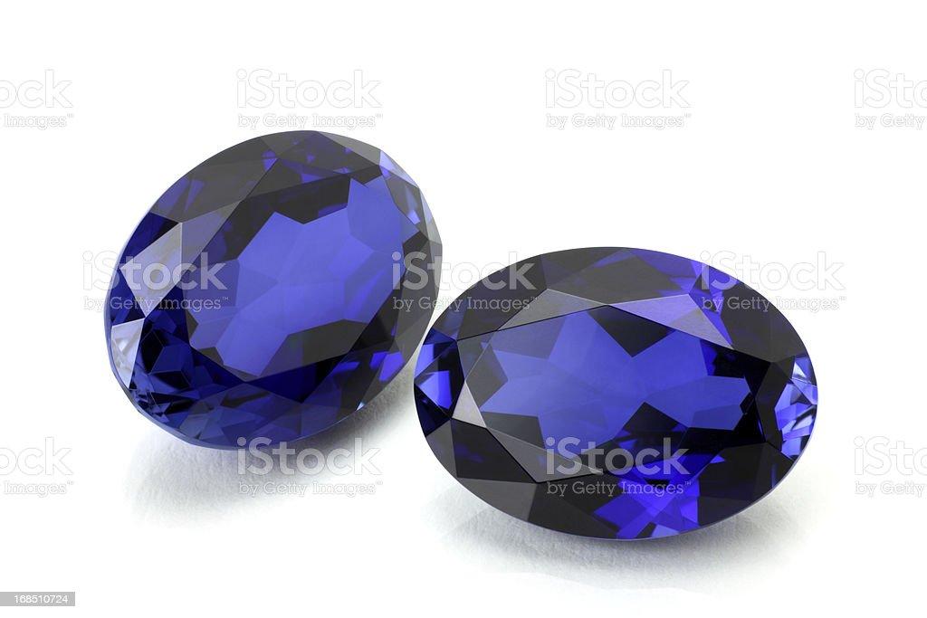 Pair of Sapphire or Tanzanite. stock photo