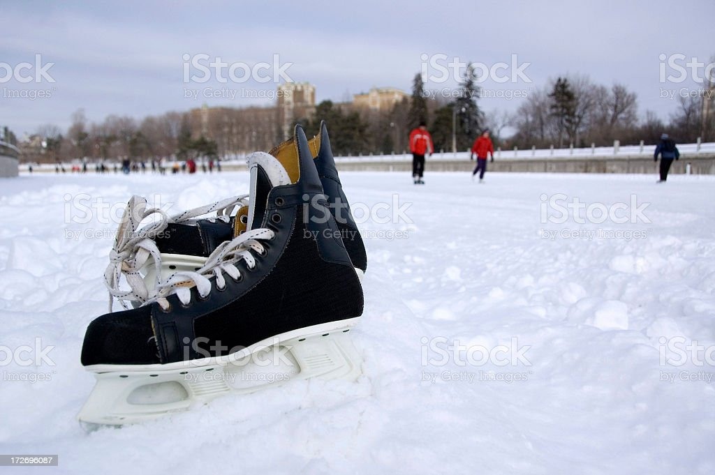 Pair of skates on the Rideau Canal royalty-free stock photo