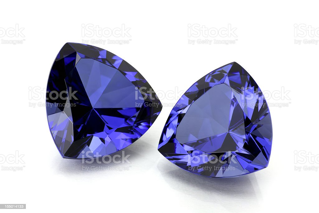Pair of Tanzanite or Sapphire stock photo