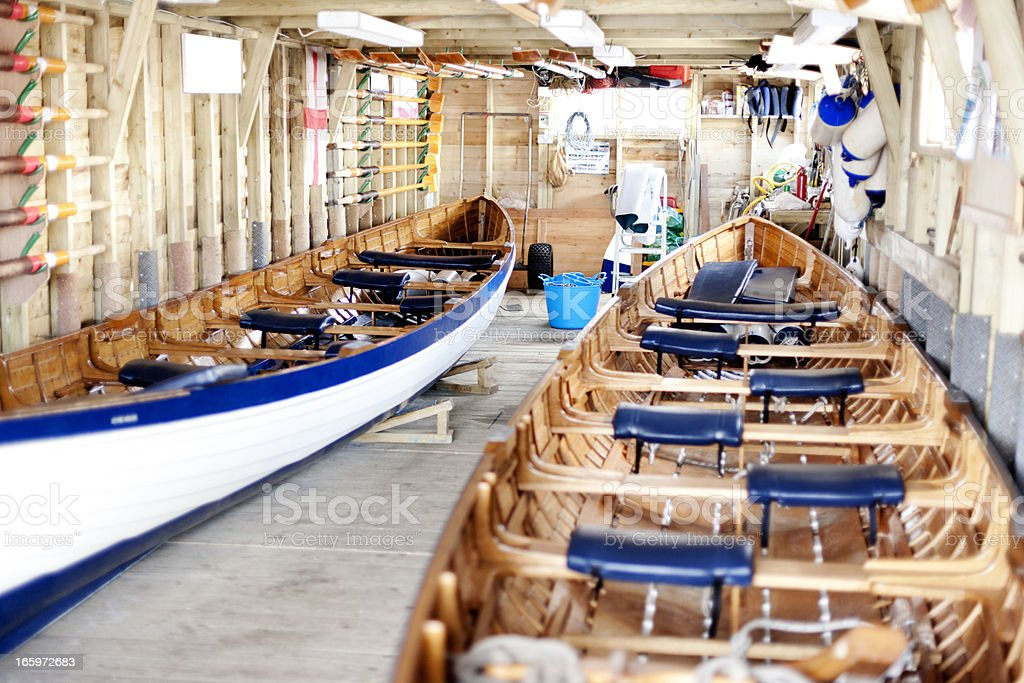 Pair of traditional Cornish pilot gig boats stock photo