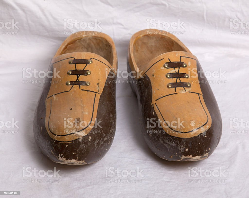 Pair of traditional Dutch wooden shoes stock photo