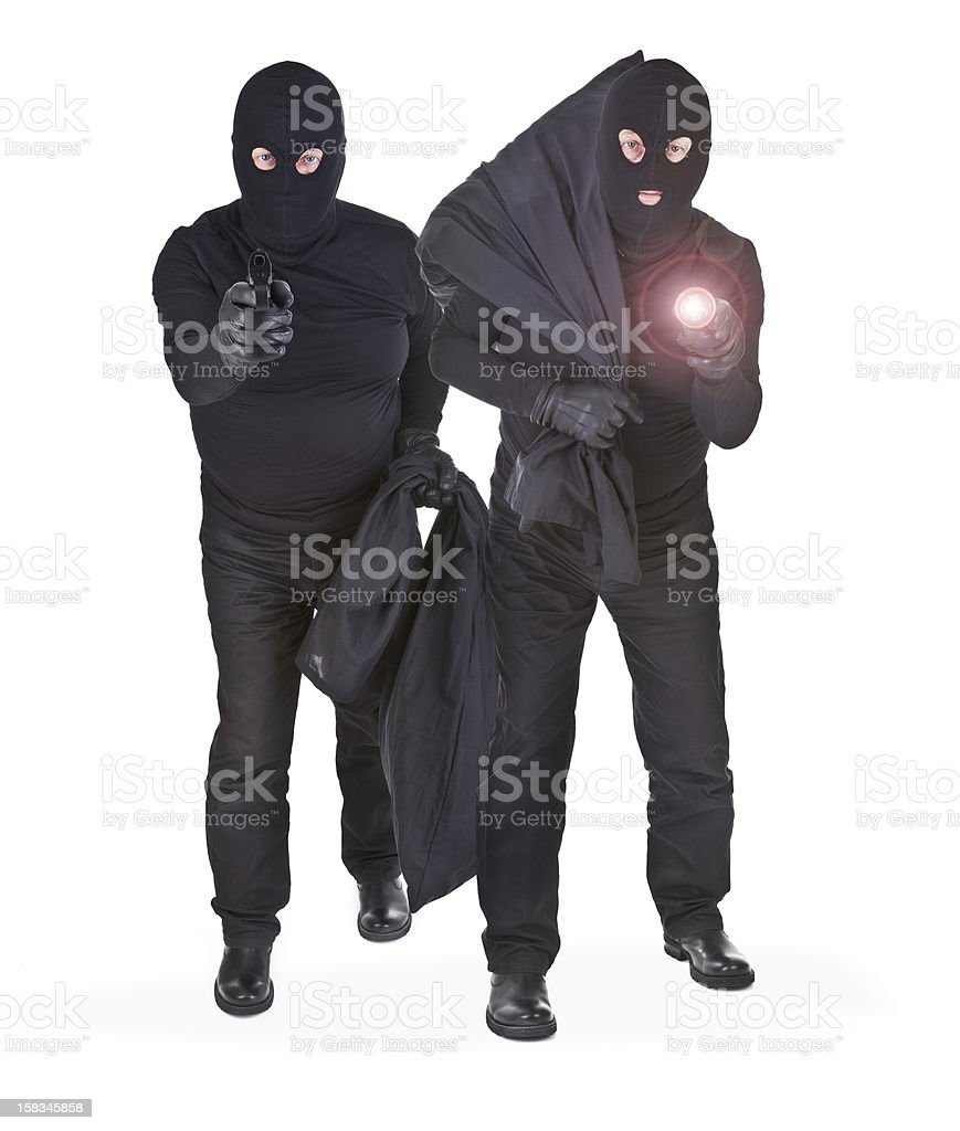 pair of two robbers stock photo