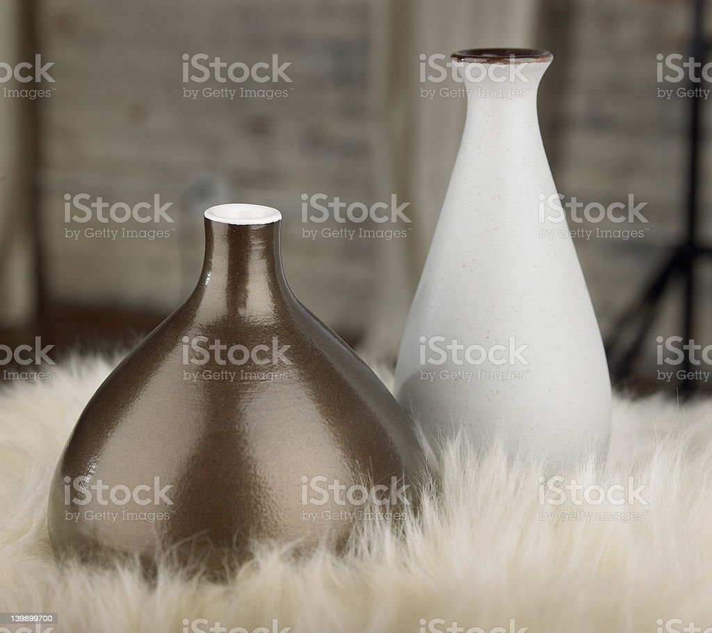 pair of vases on Fur royalty-free stock photo