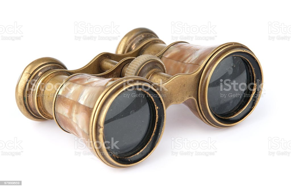 Pair of vintage binoculars isolated on white royalty free stockfoto
