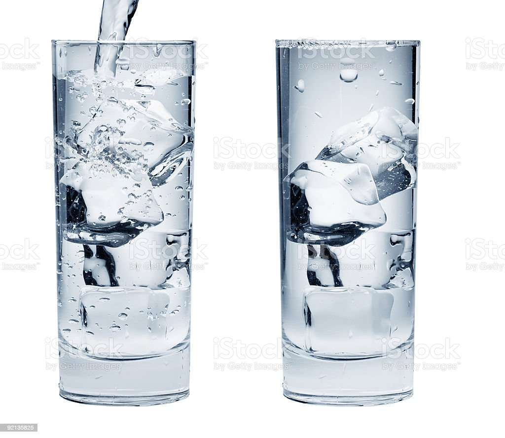 Pair of water drink glasses royalty-free stock photo