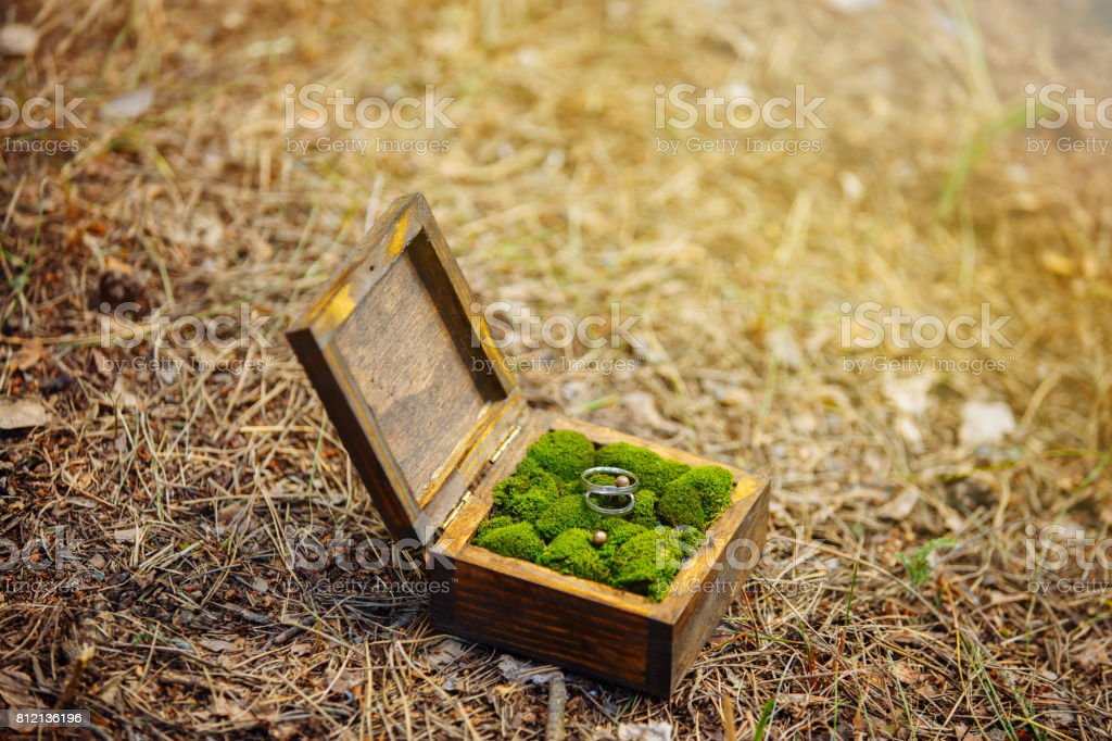 A Pair Of Wedding Rings Lying In A Wooden Box Wedding Decoration