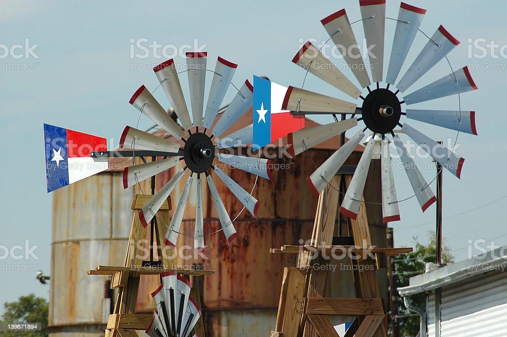Pair of Windmills stock photo