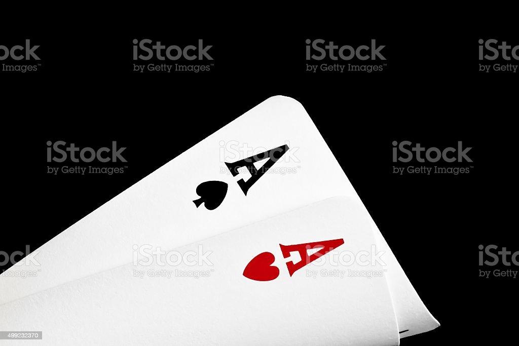 pair of winning aces stock photo