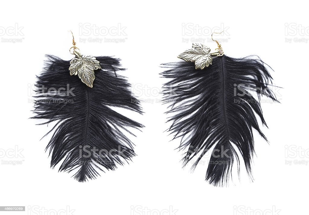 Pair of women's earrings their feathers royalty-free stock photo