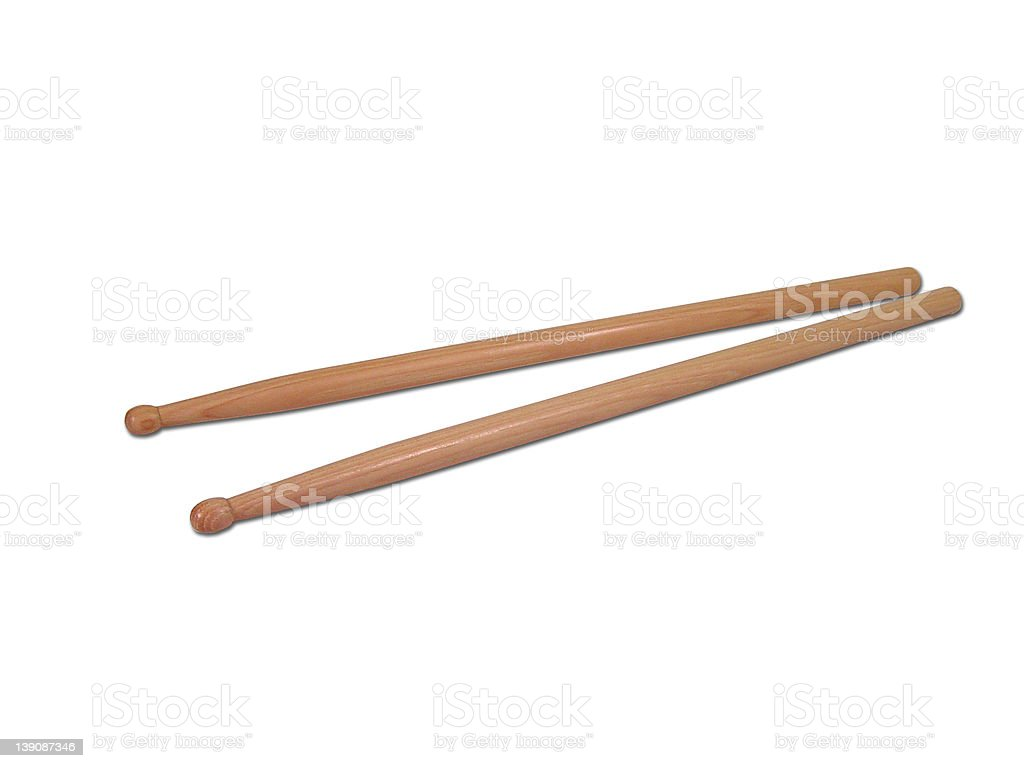 Pair of Wooden Drumsticks 2 royalty-free stock photo