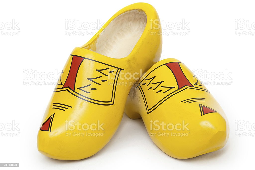 Pair of wooden shoes - klompen stock photo