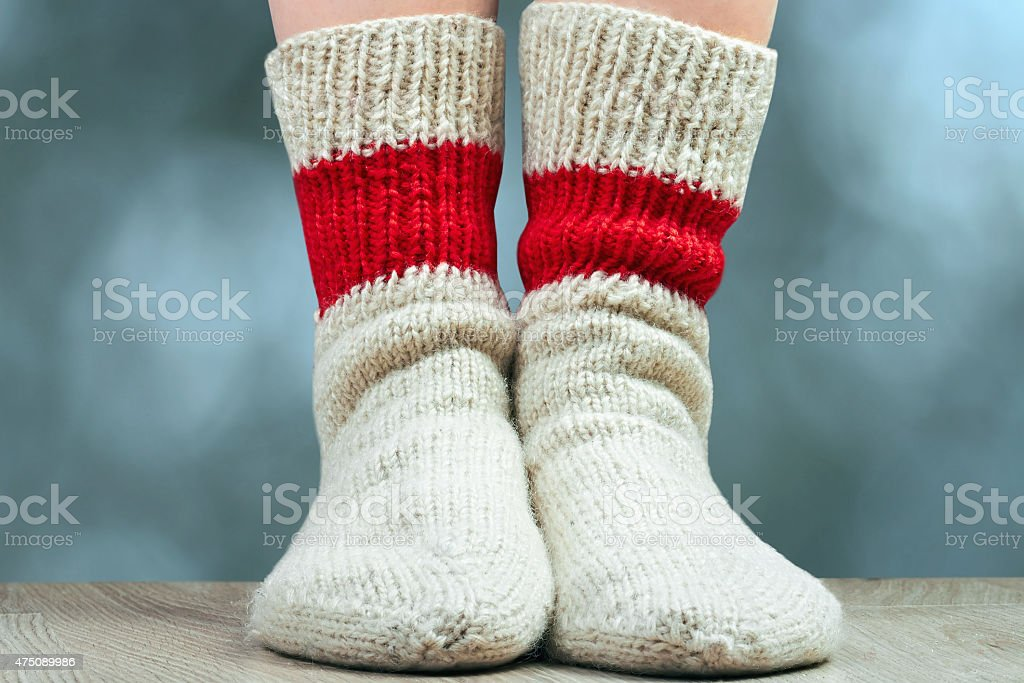 pair of wool knitted socks stock photo