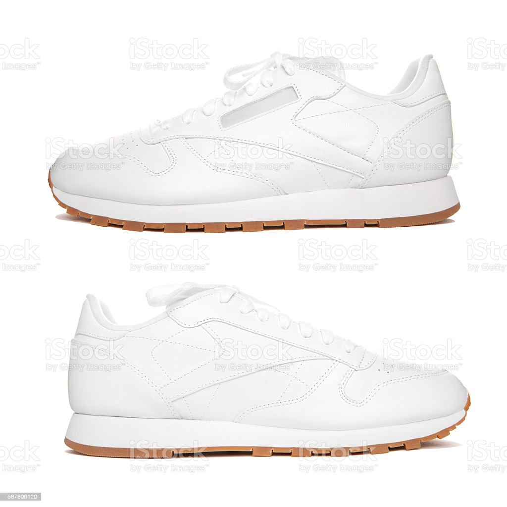 Pair white sneakers isolate. stock photo
