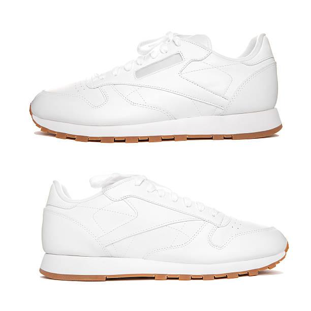 pair white sneakers isolate. - joggingschuhe stock-fotos und bilder