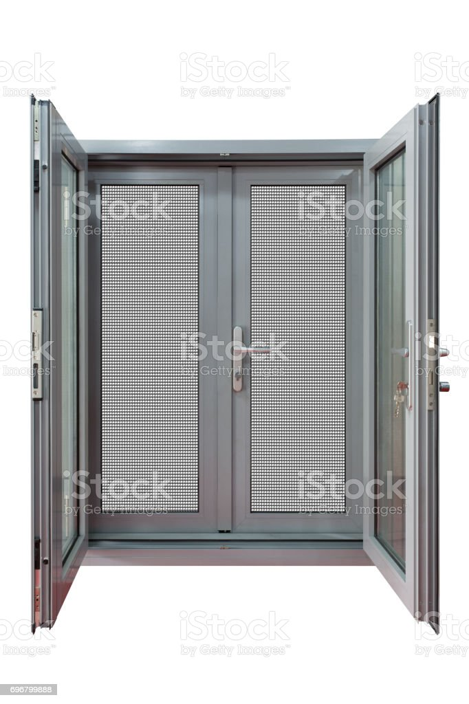paired casement door stock photo