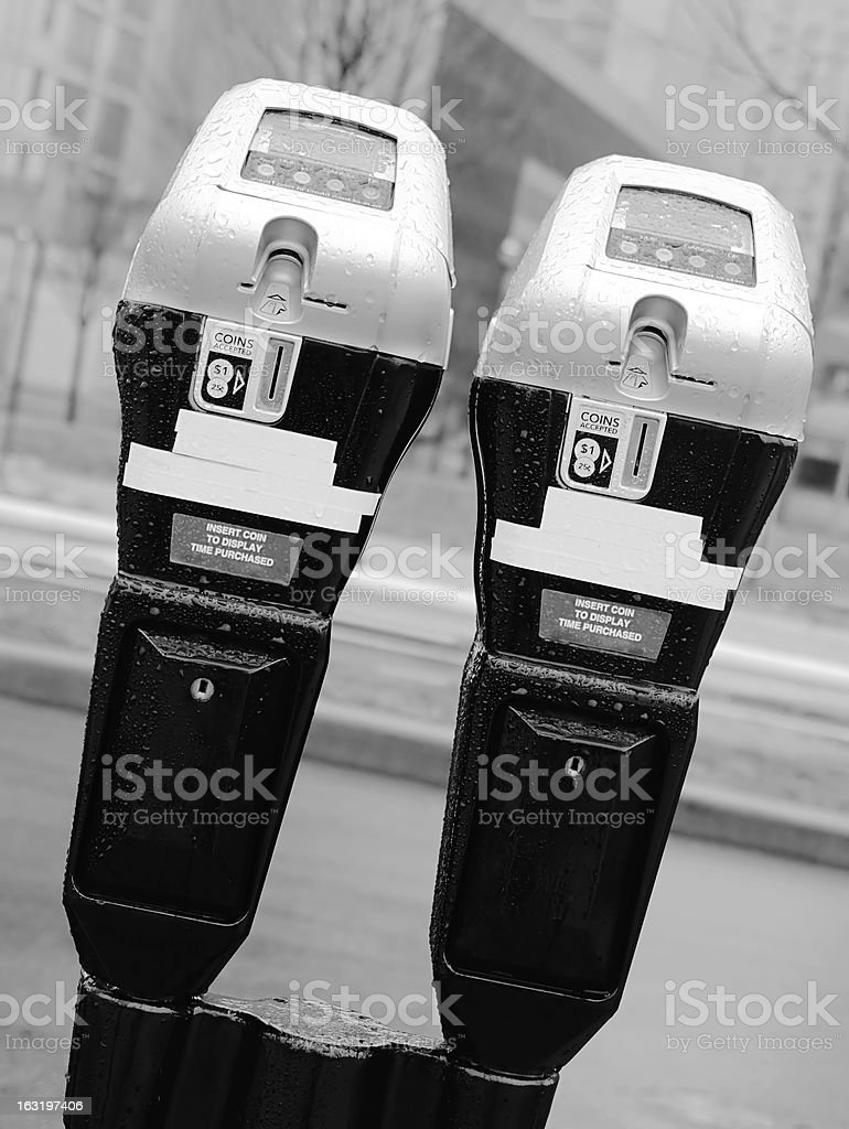 Paired parking meter royalty-free stock photo